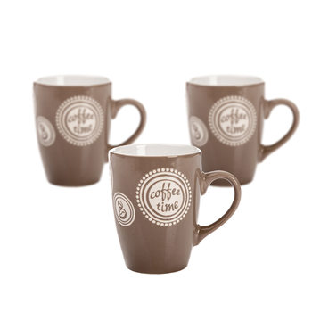 Mug Coffee Time - Light Brown 300 ml, set of 3 pcs Home Decor