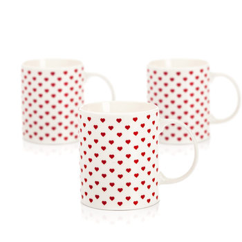 Mug Retro Heart 350 ml, set of 3 pcs Home Decor