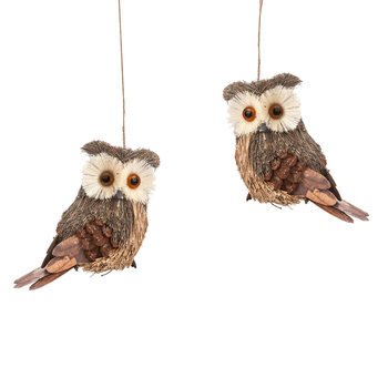 Owl Hanging Decoration Brown, 12 cm, set of 2 pcs Home Decor