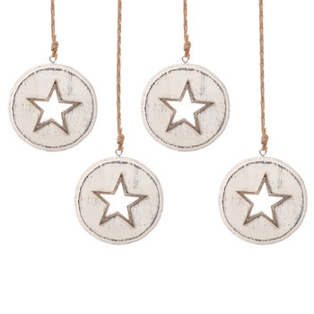 Wooden Christmas Decoration Star White, 8 cm, set of 4 pcs Home Decor