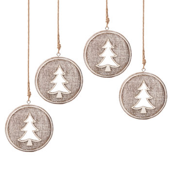 Wooden Christmas Decoration Tree Faded Paint, 8 cm, set of 4 pcs Home Decor
