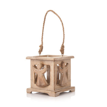 Wooden Lantern with Angel Faded Paint, 9 cm Home Decor