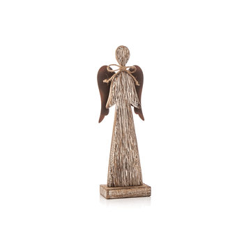 Wooden Tall Angel with Bow Faded Paint, 23 cm Home Decor