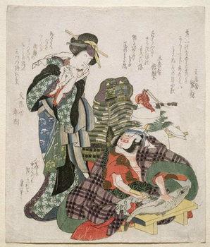 Ichikawa Danjuro and Ichikawa Monnosuke as Jagekiyo and Iwai Kumesaburo, 1824 Taidejuliste