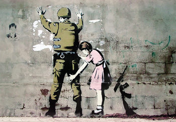 Juliste Banksy street art - Graffiti Soldier and girl