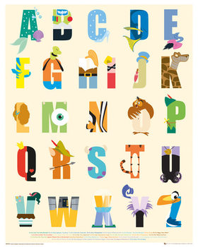 Juliste  Disney - Alphabet