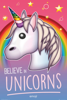 Juliste  Emoji - Believe in Unicorns