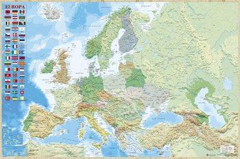 Juliste  Euroopan kartta - Poliittinen