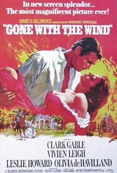Juliste Gone with the wind - Vivian Leigh, Clark Gable