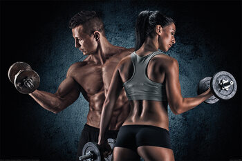 Juliste Gym - Athletic Man and Woman