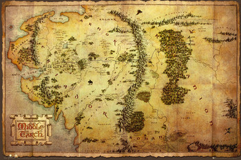 Juliste  Hobitti - Keskimaan kartta