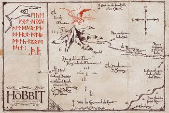 Juliste Hobitti - Yksinäisen vuoren kartta