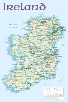 Juliste Irlanti poliittinen kartta