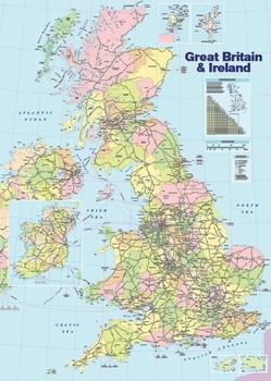 Juliste Iso-Britannian poliittinen kartta