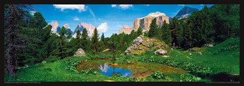 Juliste Italia - Dolomity, Saas Rigais u vody