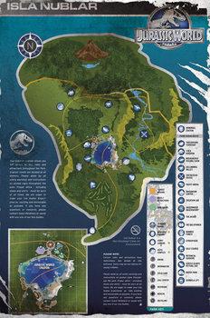 Juliste Jurassic World - Aged Map