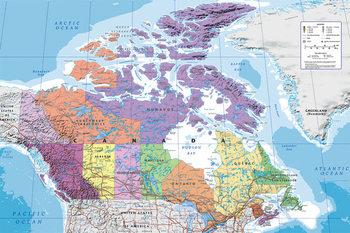 Juliste Kanada poliittinen kartta