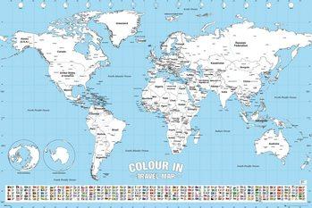Juliste  Maailmankartta - Colour In