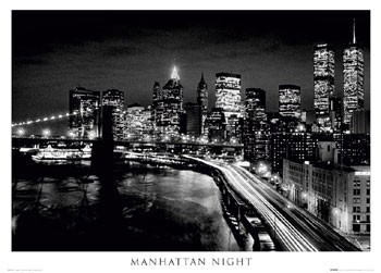 Juliste Manhattan - night b&w