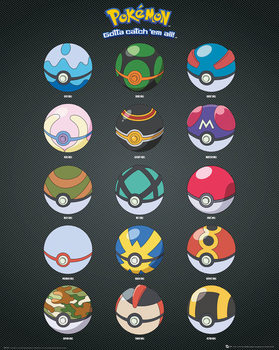 Juliste  Pokemon - Pokeballs