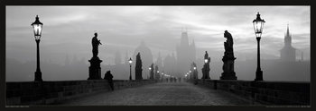 Juliste Prague – Charles bridge / lamp b&w