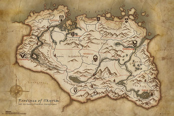 Juliste  Skyrim - Map
