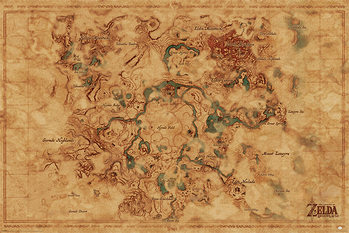 Juliste  The Legend Of Zelda: Breath Of The Wild - Hyrule World Map