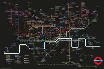 Juliste  Transport For London - Black Map