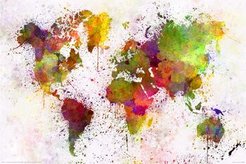 Juliste World Map - Watercolour