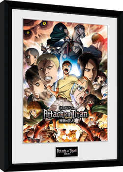 Attack on Titan Season 2 - Collage Key Art Kehystetty juliste