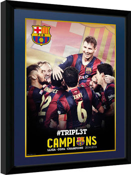 Barcelona - Triple Champions 15 Kehystetty juliste