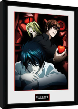 Death Note - Light L and Misa Kehystetty juliste