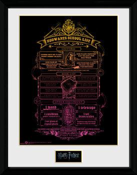 Harry Potter - Hogwarts List Kehystetty juliste