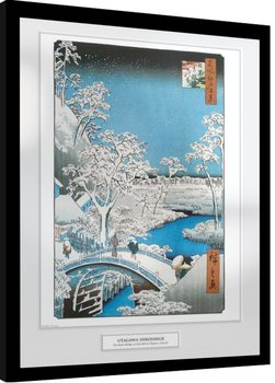 Hiroshige - The Drum Bridge Kehystetty juliste