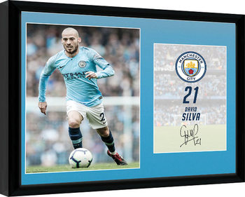 Manchester City - Silva 18-19 Kehystetty juliste