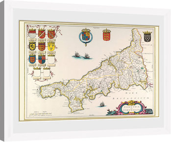 Maps - Cornwall (White) Kehystetty juliste