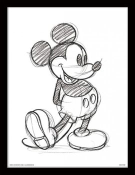 Mikki Hiiri (Mickey Mouse) - Sketched Single Kehystetty juliste