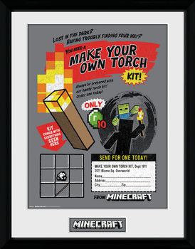 Minecratf - Make Your Own Torch Kehystetty juliste