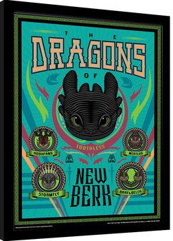 Näin koulutat lohikäärmeesi 3 - The Dragons Of New Berk Kehystetty juliste