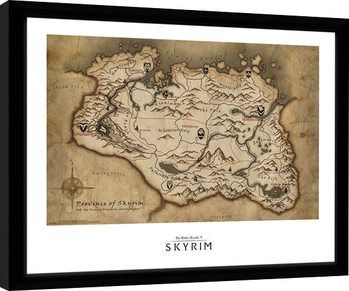 Skyrim - Map Kehystetty juliste