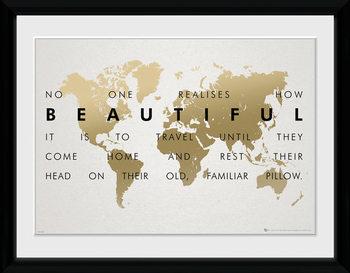 Travel kehystetty lasitettu juliste