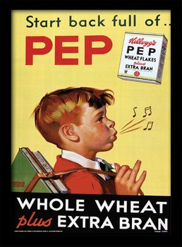 Vintage Kelloggs - Start Back Full Of Pep Kehystetty lasitettu juliste