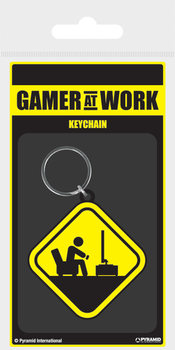 Gamer At Work - Caution Sign Keyring