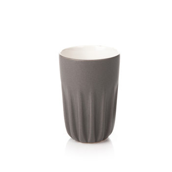 Mug Ribbed Tall, Matte Dark Gray 300 ml Kodinsisustus