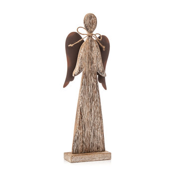 Wooden Tall Angel with Bow Faded Paint, 30 cm Kodinsisustus