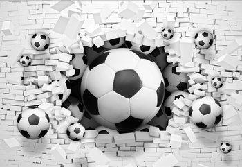 3D Footballs Bursting Through Brick Wall Valokuvatapetti