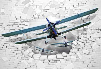 3D Plane Bursting Through Brick Wall Valokuvatapetti