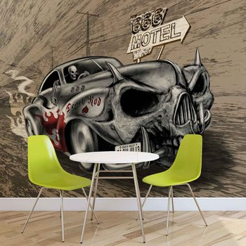 Alchemy Death Hot Rod Car Skull Valokuvatapetti