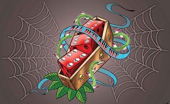 Alchemy Dice Tomb Skulls Spider Web Valokuvatapetti