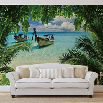 Beach Tropical Paradise Boat Valokuvatapetti